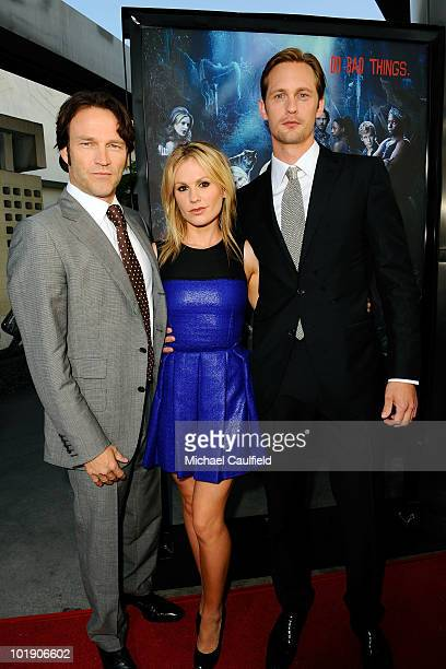 Actors Stephen Moyer Anna Paquin and Alexander Skarsgard arrive at HBO's True Blood Season 3 premiere held at the ArcLight Cinemas Cinerama Dome on...
