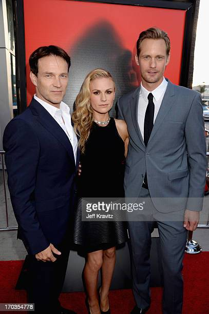 Actors Stephen Moyer Anna Paquin and Alexander Skarsgard attend HBO's True Blood season 6 premiere at ArcLight Cinemas Cinerama Dome on June 11 2013...