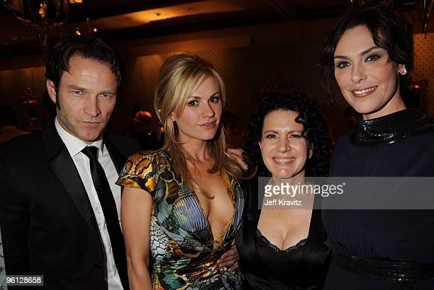 Actors Stephen Moyer Anna Paquin Susie Essman and Michelle Forbes attend the HBO post SAG awards party at Spago on January 23 2010 in Beverly Hills...