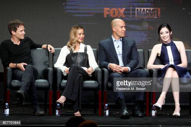 Actors Stephen Moyer Jamie Chung Coby Bell and Emma Dumont of 'The Gifted' speak onstage during the FOX portion of the 2017 Summer Television Critics...