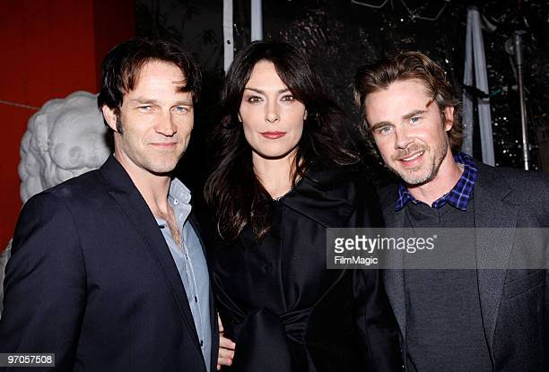 Actors Stephen Moyer Michelle Forbes and Sam Trammell arrive at HBO's premiere of The Pacific held at Grauman's Chinese Theatre on February 24 2010...