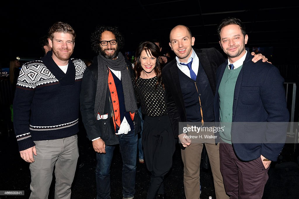 Actors Stephen Rannazzisi, Katie Aselton, Nick Kroll and Zachary Levi attend the Bud Light Hotel on February 1, 2014 in New York City.