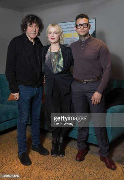 Actors Stephen Rea Miranda Richardson and Jaye Davidson pose for a photo after a QA to mark the 25th anniversary of 'The Crying Game' at BFI...