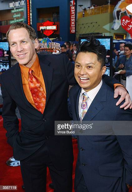 Actors Stephen Spinella and Alec Mapa attend the world premiere of the film Connie and Carla at the Universal Studios Cinema April 13 2004 in...