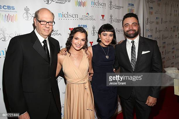 Actors Stephen Tobolowsky Isabella Gomez Ariela Barer and James Martinez attend the 31st Annual Imagen Awards at The Beverly Hilton Hotel on...