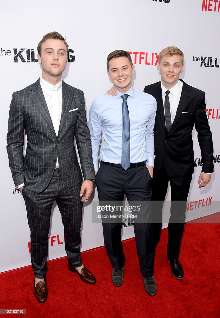 Actors Sterling Beaumon, Tyler Ross, and Levi Meaden attend premiere of Netflix's 'The Killing' season 4 at ArcLight Cinemas on July 14, 2014 in Hollywood, California.