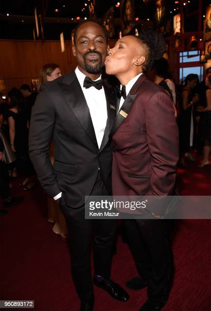 Actors Sterling K Brown and Lena Waithe attend the 2018 Time 100 Gala at Jazz at Lincoln Center on April 24 2018 in New York CityÊ