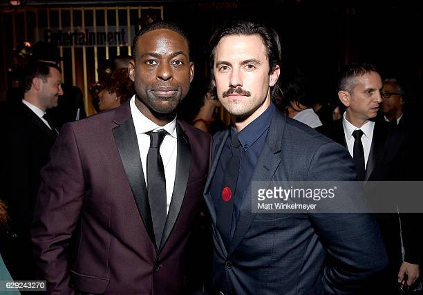 Actors Sterling K Brown and Milo Ventimiglia attend The 22nd Annual Critics' Choice Awards after party at Barker Hangar on December 11 2016 in Santa...