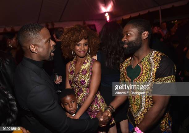 Actors Sterling K Brown and Ryan Michelle Bathe and son Andrew Brown with actor David Oyelowo at the Los Angeles World Premiere of Marvel Studios'...