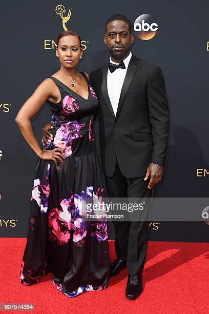 Actors Sterling K Brown and Ryan Michelle Bathe attend the 68th Annual Primetime Emmy Awards at Microsoft Theater on September 18 2016 in Los Angeles...