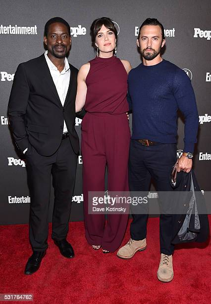 Actors Sterling K Brown Mandy Moore and Milo Ventimiglia attend the Entertainment Weekly People Upfronts party 2016 at Cedar Lake on May 16 2016 in...