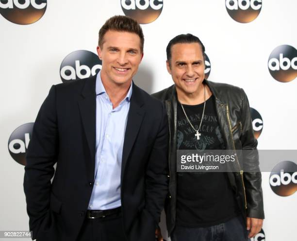 Actors Steve Burton and Maurice Benard attend Disney ABC Television Group's TCA Winter Press Tour 2018 at The Langham Huntington Pasadena on January...