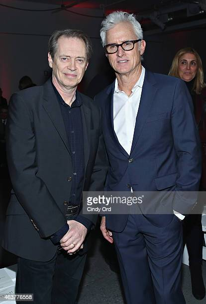 Actors Steve Buscemi and John Slattery attend the Nanette Lepore fashion show at Pop14 during Mercedes-Benz Fashion Week Fall 2015 on February 18,...