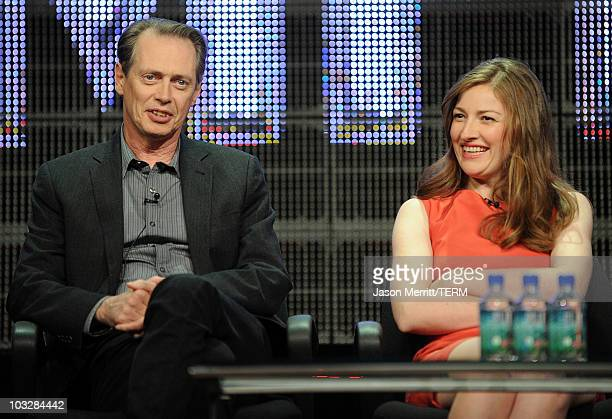 Actors Steve Buscemi and Kelly Macdonald speak onstage during the 'Boardwalk Empire' panel during the HBO portion of the 2010 Summer TCA press tour...