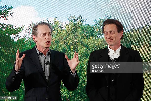 Actors Steve Buscemi and Michael Buscemi appear on stage during the AOL 2015 Newfront on April 28 2015 in New York City