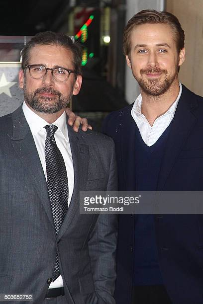 Actors Steve Carel and Ryan Gosling attend a ceremony honoring actor Steve Carell with a star on the Hollywood Walk of Fame on January 6 2016 in...