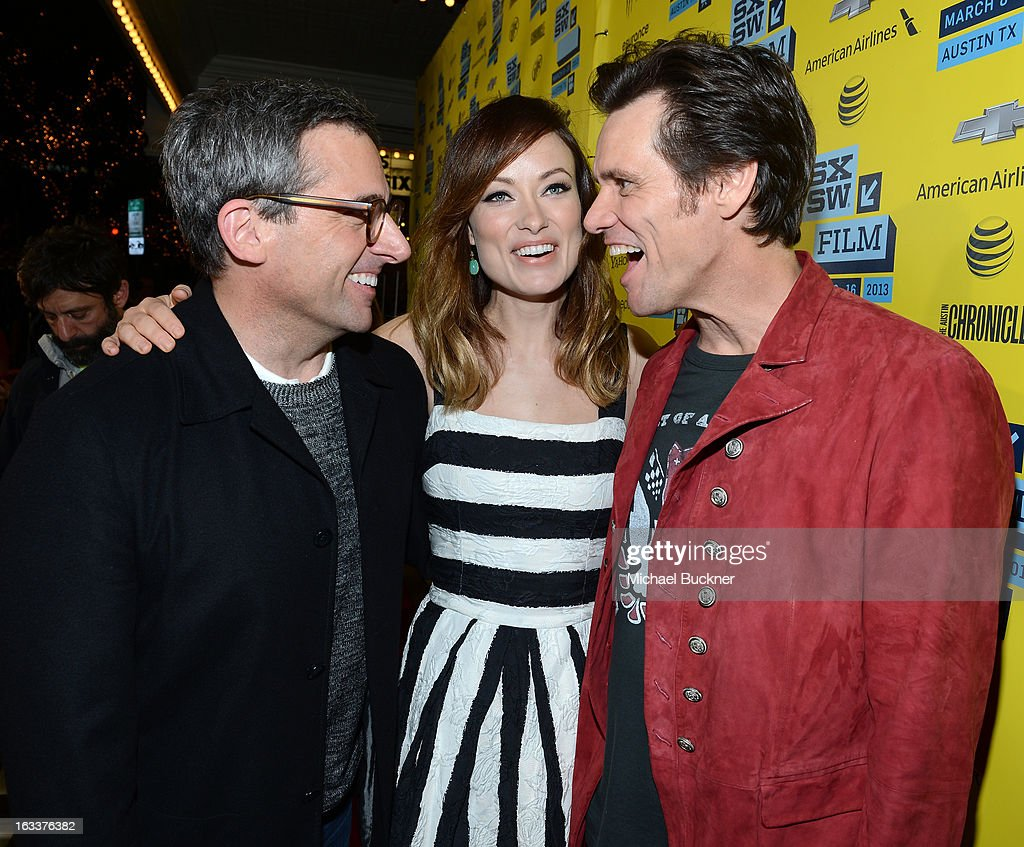 Actors Steve Carell, actress Olivia Wilde and actor Jim Carrey arrive at the world premiere of 'The Incredible Burt Wonderstone' during the 2013 SXSW Music, Film + Interactive Festival at the Paramount Theatre on March 8, 2013 in Austin, Texas.