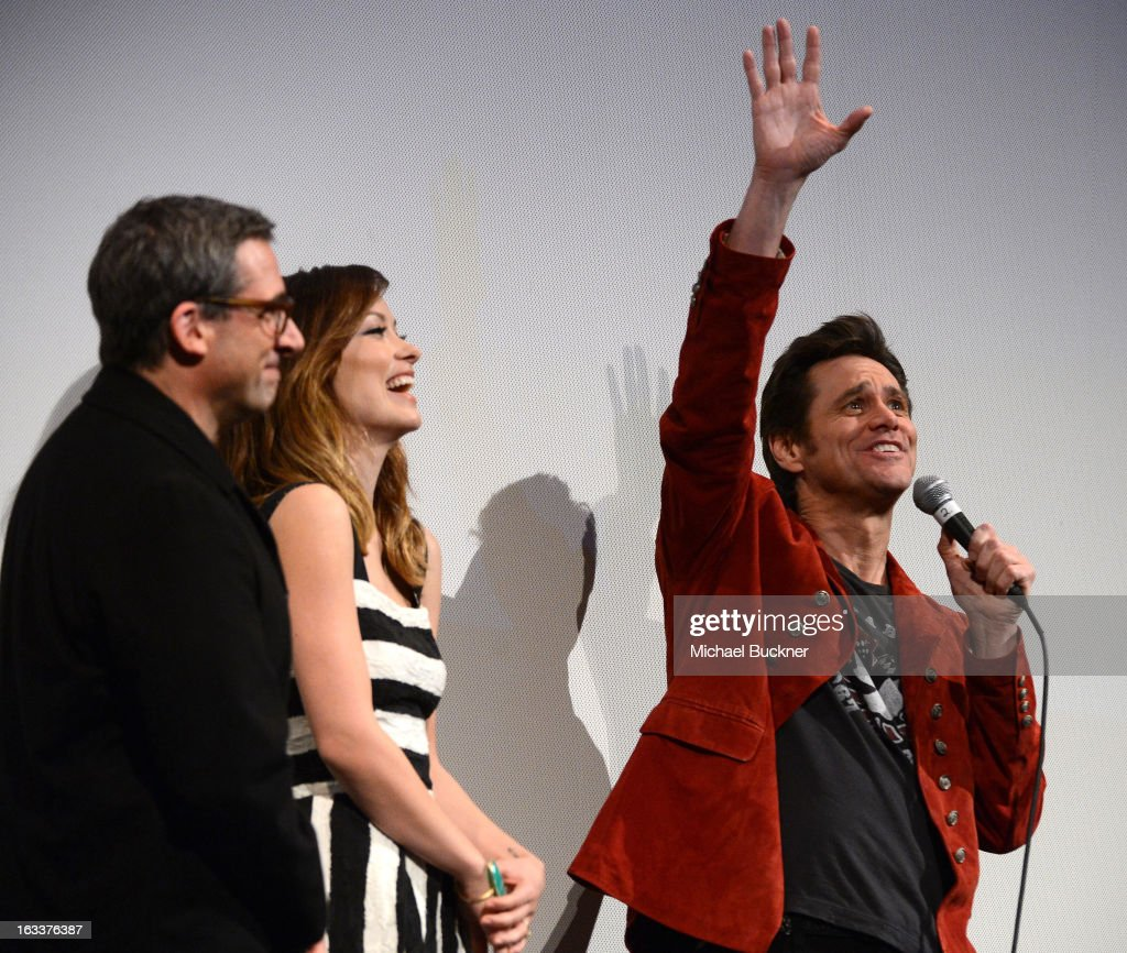 Actors Steve Carell, actress Olivia Wilde and actor Jim Carrey speak on stage at the world premiere of 'The Incredible Burt Wonderstone' during the 2013 SXSW Music, Film + Interactive Festival at the Paramount Theatre on March 8, 2013 in Austin, Texas.