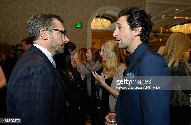 Actors Steve Carell and Adrien Brody attend the BAFTA Los Angeles Tea Party at The Four Seasons Hotel Los Angeles At Beverly Hills on January 10 2015...
