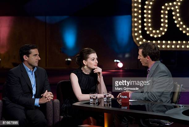 ACCESS *** Actors Steve Carell and Anne Hathaway appear on the Rove McManus TV chat show 'Rove Live' at Movie World on June 22 2008 in Gold Coast...