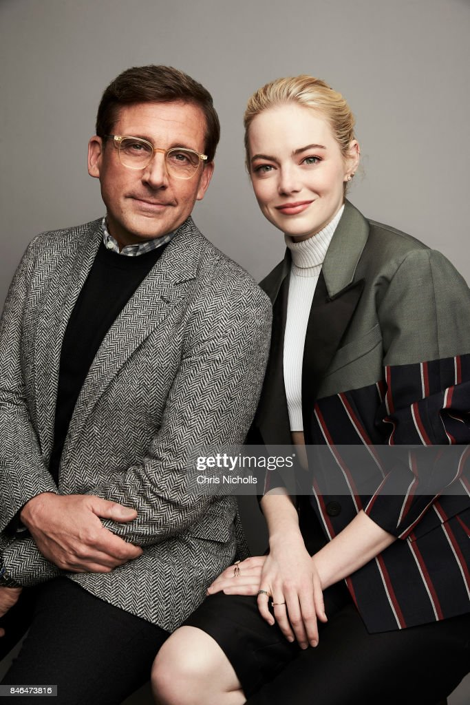 Actors Steve Carell and Emma Stone of Fox Searchlight Pictures' 'Battle of the Sexes' are photographed at the Toronto Film Festival for Self Assignment on September 10, 2017 in Toronto, Ontario.