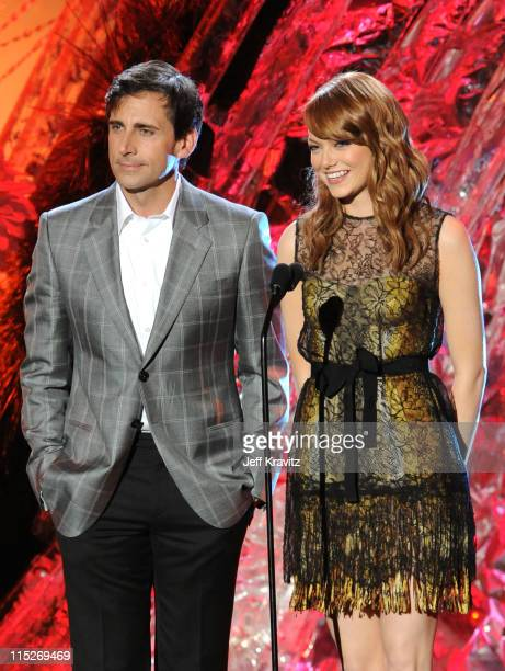 Actors Steve Carell and Emma Stone speak onstage during the 2011 MTV Movie Awards at Universal Studios' Gibson Amphitheatre on June 5 2011 in...