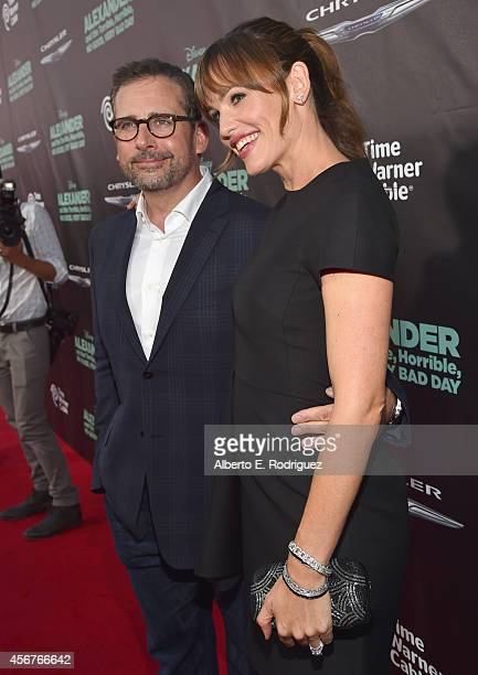 Actors Steve Carell and Jennifer Garner attend The World Premiere of Disney's Alexander and the Terrible Horrible No Good Very Bad Day at the El...