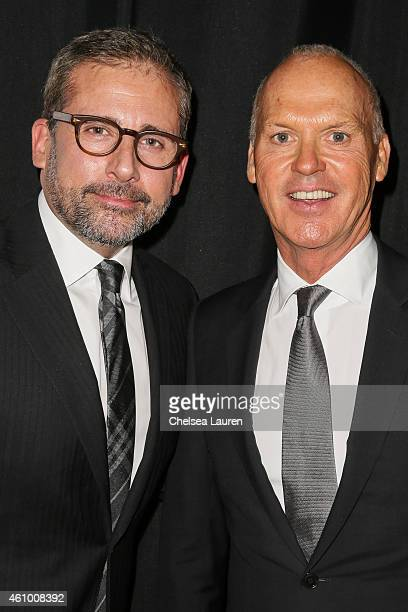 Actors Steve Carell and Michael Keaton arrive with MercedesBenz at the 26th annual Palm Springs International Film Festival Gala on January 3 2015 in...