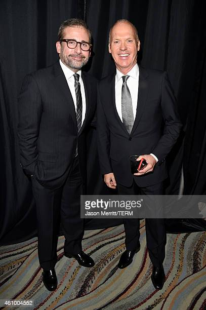 Actors Steve Carell and Michael Keaton attend the 26th Annual Palm Springs International Film Festival Awards Gala at Palm Springs Convention Center...