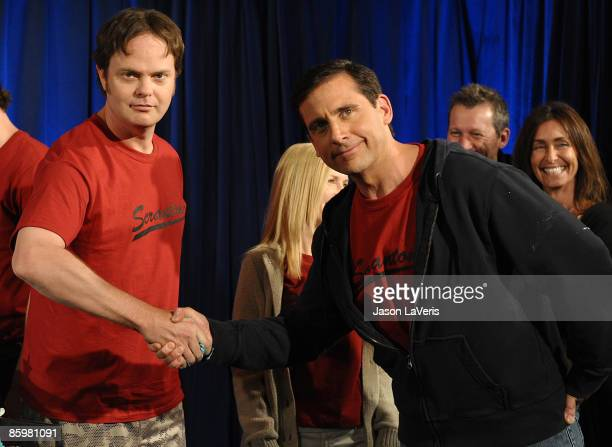 """Actors Steve Carell and Rainn Wilson attend the 100th episode celebration of """"The Office"""" at Calamigos Ranch on April 14, 2009 in Malibu, California."""