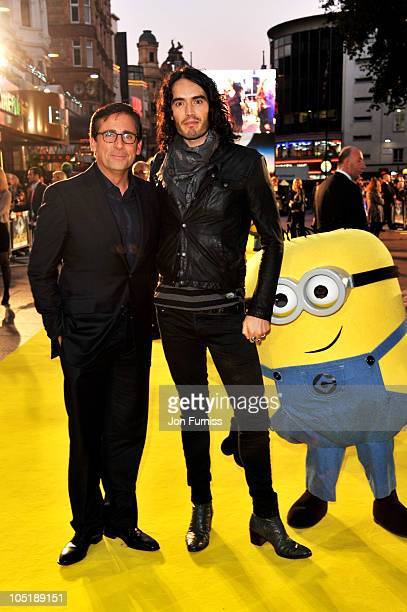 Actors Steve Carell and Russell Brand attend the 'Despicable Me' European premiere at Empire Leicester Square on October 11 2010 in London England