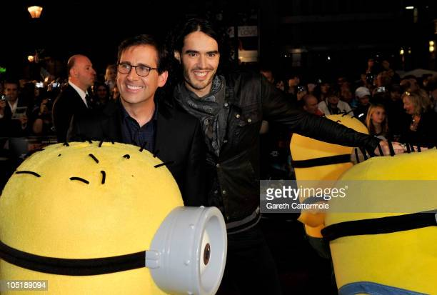 Actors Steve Carell and Russell Brand attend the UK Premiere for 'Despicable Me' at The Empire Cinema Leicester Square on October 11 2010 in London...