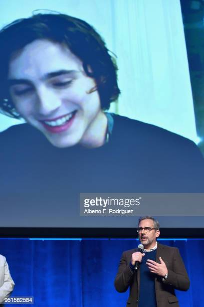 Actors Steve Carell and Timothee Chalamet via satellite speak onstage during CinemaCon 2018 Amazon Studios An Exciting New Year of Great Product for...