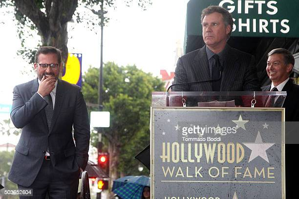 Actors Steve Carell and Will Ferrell attend a ceremony honoring actor Steve Carell with a star on the Hollywood Walk of Fame on January 6 2016 in...