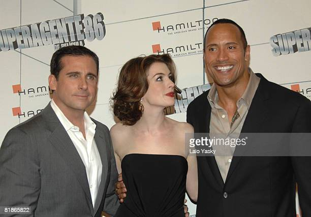 Actors Steve Carell Anne Hathaway and Dwayne Johnson attend the premiere of 'Get Smart' at Capitol Cinema on July 8 2008 in Madrid Spain