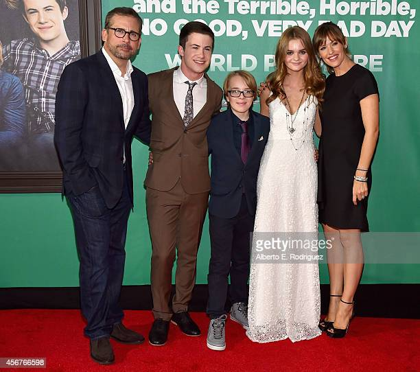 Actors Steve Carell Dylan Minnette Ed Oxenbould Kerris Dorsey and Jennifer Garner attend The World Premiere of Disney's Alexander and the Terrible...