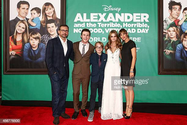 Actors Steve Carell Dylan Minnette Ed Oxenbould Kerris Dorsey and Jennifer Garner attend The World Premiere of Disney's 'Alexander and the Terrible...