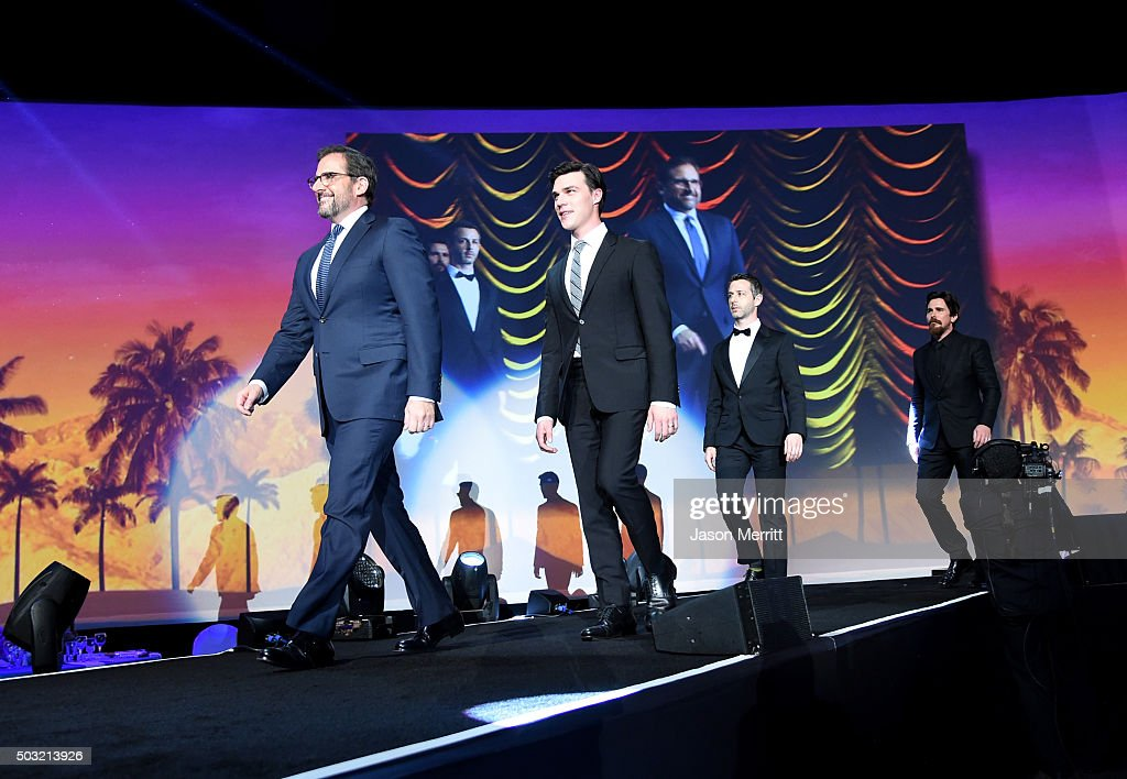 Actors Steve Carell, Finn Wittrock, Jeremy Strong and Christian Bale accept the Ensemble Performance Award for 'The Big Short' onstage at the 27th Annual Palm Springs International Film Festival Awards Gala at Palm Springs Convention Center on January 2, 2016 in Palm Springs, California.