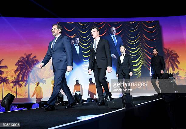 Actors Steve Carell Finn Wittrock Jeremy Strong and Christian Bale accept the Ensemble Performance Award for The Big Short onstage at the 27th Annual...