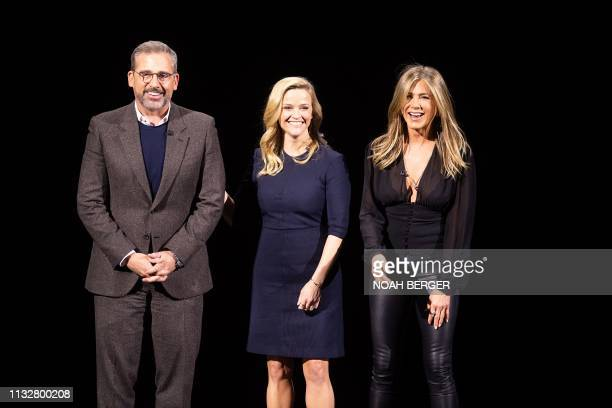 Actors Steve Carell Reese Witherspoon and Jennifer Aniston speak during an event launching Apple tv at Apple headquarters on March 25 in Cupertino...