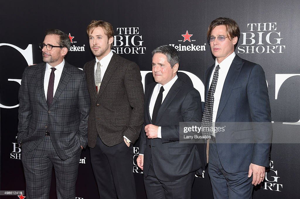 Actors Steve Carell, Ryan Gosling, Chairman and CEO of Paramount, Brad Grey and actor Brad Pitt attend 'The Big Short' Premiere at Ziegfeld Theatre on November 23, 2015 in New York City.