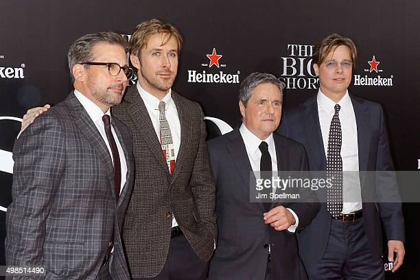 """Actors Steve Carell, Ryan Gosling, chairman and CEO of Paramount Pictures Brad Grey and actor Brad Pitt attend the """"The Big Short"""" New York premiere..."""