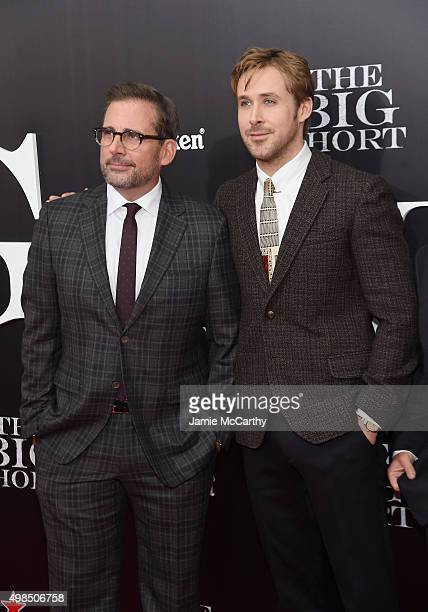 """Actors Steve Carrell and Ryan Gosling attends the premiere of """"The Big Short"""" at Ziegfeld Theatre on November 23, 2015 in New York City."""