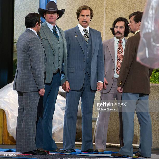 Actors Steve Carrell David Koechner Will Ferrell Paul Rudd and Dylan Baker filming on location for 'Anchorman The Legend Continues' on May 20 2013 in...