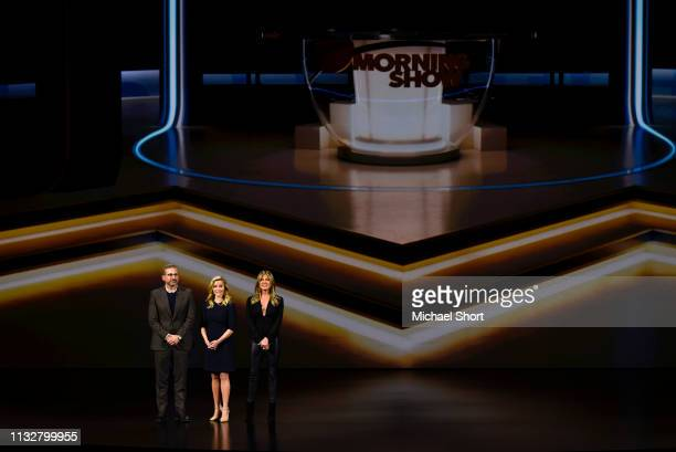 Actors Steve Carrell Reese Witherspoon and Jennifer Aniston speak during an Apple product launch event at the Steve Jobs Theater at Apple Park on...