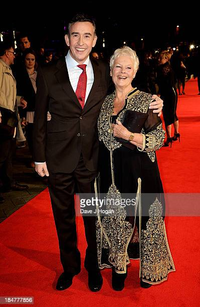 Actors Steve Coogan and Judi Dench attend a screening of 'Philomena' during the 57th BFI London Film Festival at Odeon Leicester Square on October 16...