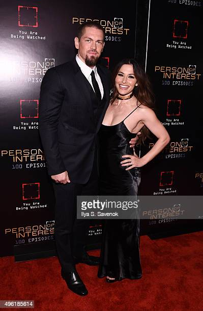 Actors Steve Howey and Sarah Shahi attend Person Of Interest 100th Episode Celebration at 230 Fifth Avenue on November 7 2015 in New York City
