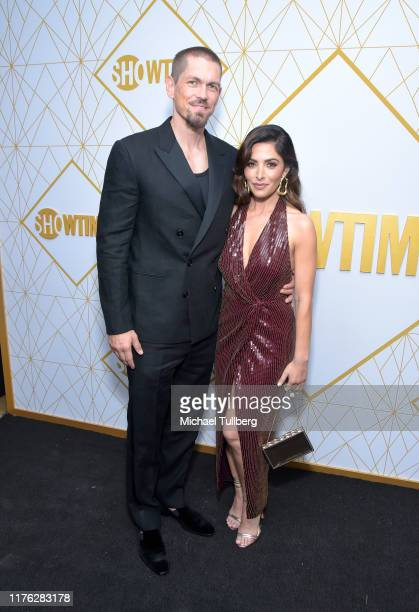 Actors Steve Howey and Sarah Shahi attend the Showtime Emmy Eve nominees celebration at San Vincente Bungalows on September 21 2019 in West Hollywood...