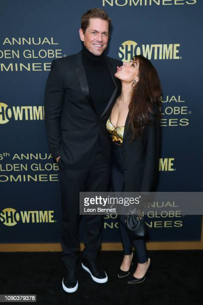Actors Steve Howey and Sarah Shahi attend the Showtime Golden Globe Nominees Celebration at Sunset Tower Hotel on January 05 2019 in West Hollywood...