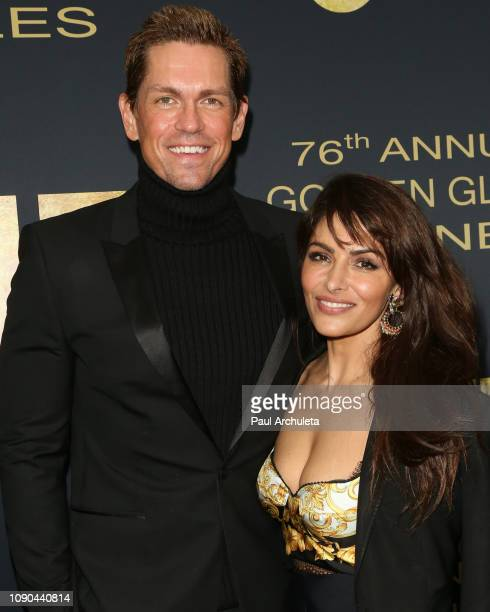 Actors Steve Howey and Sarah Shahi attend the Showtime Golden Globe nominees celebration at the Sunset Tower Hotel on January 05 2019 in West...